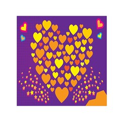 Heart Love Valentine Purple Orange Yellow Star Small Satin Scarf (square)