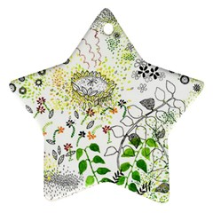 Flower Flowar Sunflower Rose Leaf Green Yellow Picture Ornament (star)