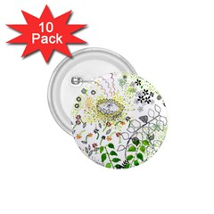 Flower Flowar Sunflower Rose Leaf Green Yellow Picture 1 75  Buttons (10 Pack) by Alisyart