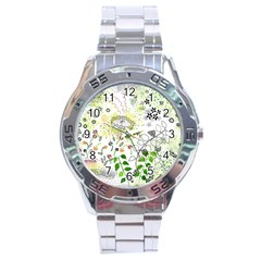 Flower Flowar Sunflower Rose Leaf Green Yellow Picture Stainless Steel Analogue Watch