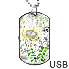 Flower Flowar Sunflower Rose Leaf Green Yellow Picture Dog Tag Usb Flash (one Side)