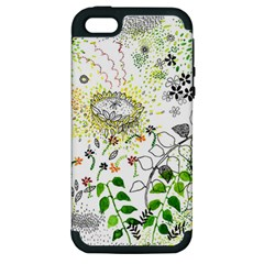 Flower Flowar Sunflower Rose Leaf Green Yellow Picture Apple Iphone 5 Hardshell Case (pc+silicone)