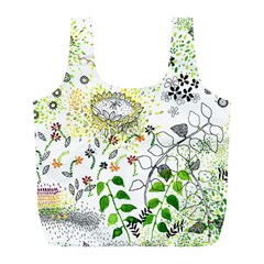 Flower Flowar Sunflower Rose Leaf Green Yellow Picture Full Print Recycle Bags (l)