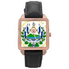 Coat Of Arms Of El Salvador Rose Gold Leather Watch  by abbeyz71