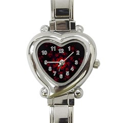 Fractal Abstract Blossom Bloom Red Heart Italian Charm Watch by Amaryn4rt