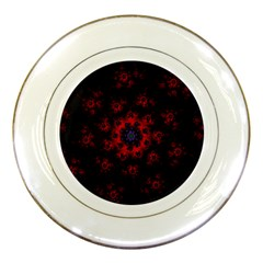 Fractal Abstract Blossom Bloom Red Porcelain Plates by Amaryn4rt