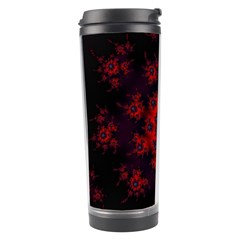 Fractal Abstract Blossom Bloom Red Travel Tumbler by Amaryn4rt