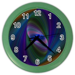 Ellipse Fractal Computer Generated Color Wall Clocks by Amaryn4rt