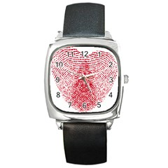 Heart Love Valentine Red Square Metal Watch