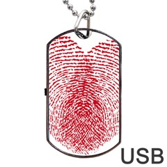Heart Love Valentine Red Dog Tag Usb Flash (one Side)