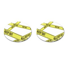 Keep Out Police Line Yellow Cross Entry Cufflinks (oval)