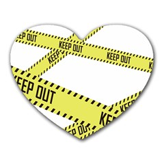 Keep Out Police Line Yellow Cross Entry Heart Mousepads