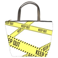 Keep Out Police Line Yellow Cross Entry Bucket Bags by Alisyart