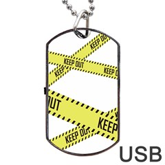 Keep Out Police Line Yellow Cross Entry Dog Tag Usb Flash (one Side)