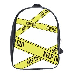 Keep Out Police Line Yellow Cross Entry School Bags (xl)