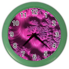 Fractal Artwork Pink Purple Elegant Color Wall Clocks by Amaryn4rt
