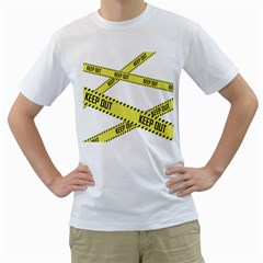 Keep Out Police Line Yellow Cross Entry Men s T Shirt (white)
