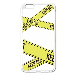 Keep Out Police Line Yellow Cross Entry Apple Iphone 6 Plus/6s Plus Enamel White Case