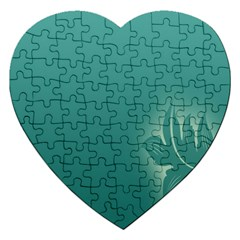 Leaf Green Blue Branch  Texture Thread Jigsaw Puzzle (heart) by Alisyart