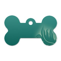 Leaf Green Blue Branch  Texture Thread Dog Tag Bone (two Sides)