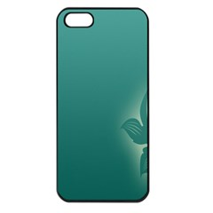 Leaf Green Blue Branch  Texture Thread Apple Iphone 5 Seamless Case (black)
