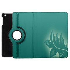Leaf Green Blue Branch  Texture Thread Apple Ipad Mini Flip 360 Case