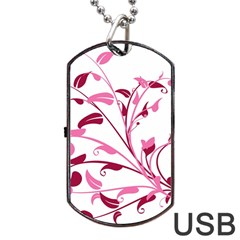 Leaf Pink Floral Dog Tag Usb Flash (one Side)