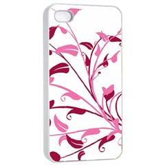 Leaf Pink Floral Apple Iphone 4/4s Seamless Case (white)