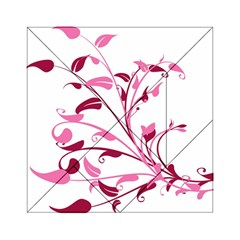 Leaf Pink Floral Acrylic Tangram Puzzle (6  X 6 )