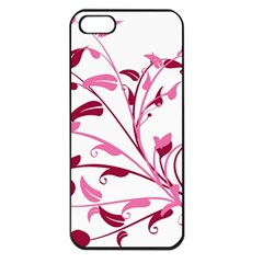 Leaf Pink Floral Apple Iphone 5 Seamless Case (black)