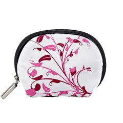 Leaf Pink Floral Accessory Pouches (small)