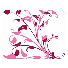 Leaf Pink Floral Double Sided Flano Blanket (large)