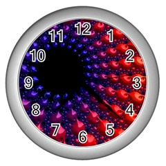 Fractal Mathematics Abstract Wall Clocks (silver)  by Amaryn4rt