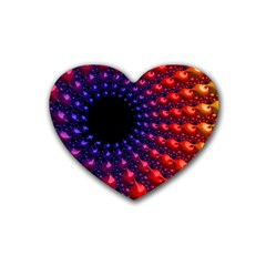 Fractal Mathematics Abstract Rubber Coaster (heart)  by Amaryn4rt