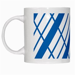 Line Blue Chevron White Mugs