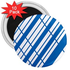 Line Blue Chevron 3  Magnets (10 Pack)
