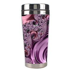 Purple Abstract Art Fractal Art Fractal Stainless Steel Travel Tumblers by Amaryn4rt