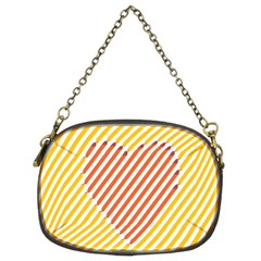 Little Valentine Pink Yellow Chain Purses (two Sides)