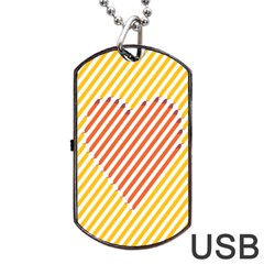 Little Valentine Pink Yellow Dog Tag Usb Flash (one Side)