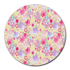 Flower Arrangements Season Floral Pink Purple Star Rose Round Mousepads