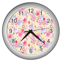 Flower Arrangements Season Floral Pink Purple Star Rose Wall Clocks (silver)  by Alisyart
