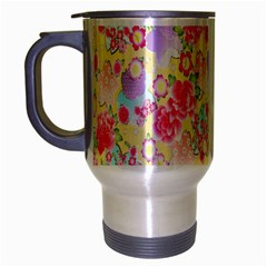 Flower Arrangements Season Floral Pink Purple Star Rose Travel Mug (silver Gray)