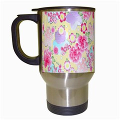 Flower Arrangements Season Floral Pink Purple Star Rose Travel Mugs (white)