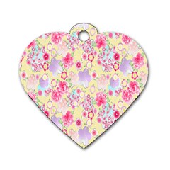 Flower Arrangements Season Floral Pink Purple Star Rose Dog Tag Heart (two Sides) by Alisyart