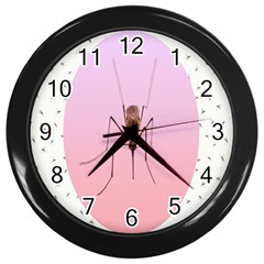Mosquito Pink Insect Blood Wall Clocks (black)