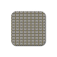 Flower Floral Chevrpn Wave Sunflower Rose Grey Yellow Rubber Square Coaster (4 Pack)  by Alisyart