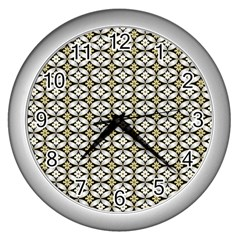 Flower Floral Chevrpn Wave Sunflower Rose Grey Yellow Wall Clocks (silver)