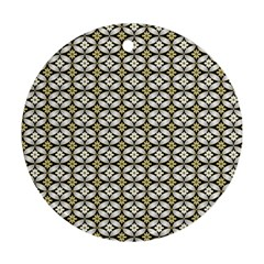 Flower Floral Chevrpn Wave Sunflower Rose Grey Yellow Round Ornament (two Sides)