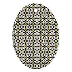 Flower Floral Chevrpn Wave Sunflower Rose Grey Yellow Oval Ornament (two Sides) by Alisyart