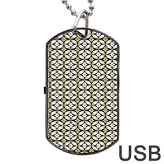 Flower Floral Chevrpn Wave Sunflower Rose Grey Yellow Dog Tag Usb Flash (one Side)